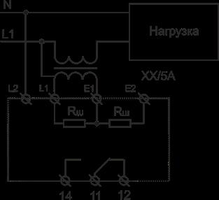 Схема подключения РКТ-1 AC исполнения при измерении тока более 5А