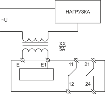 Схема подключения РТ-40 при измерении тока более 10А