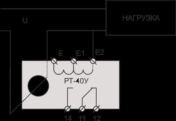 Схема подключения РТ-40У при измерении тока до 30А