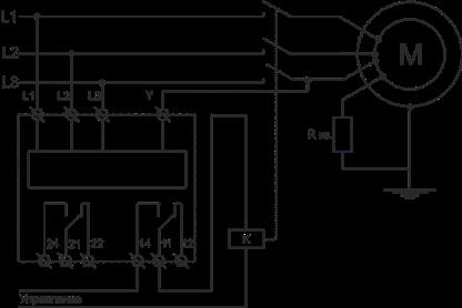 Схема подключения в цепь управления двигателем