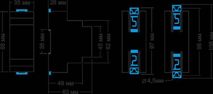 Габаритные размеры РКН-3-15-15