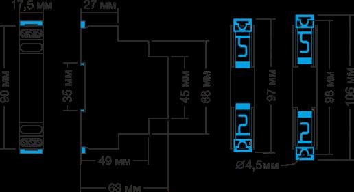 Габаритные размеры РКН-3-25-15
