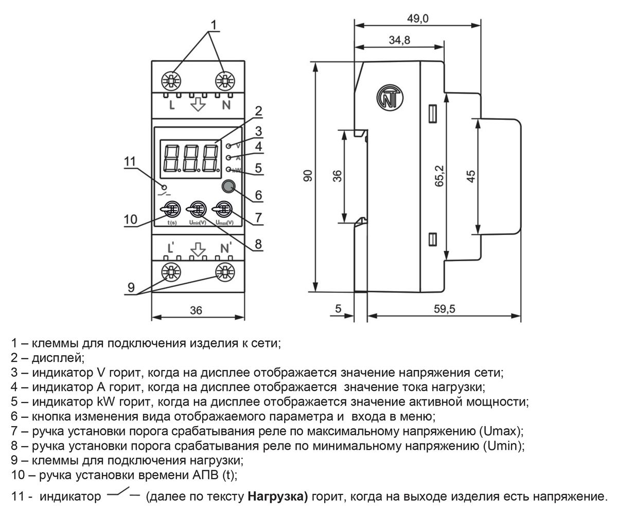Габаритные размеры РН-263t